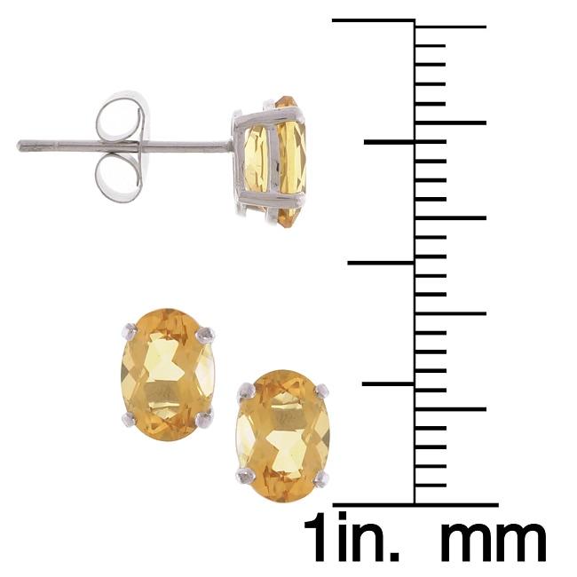 Kabella 14k White Gold Oval Citrine Stud Earrings