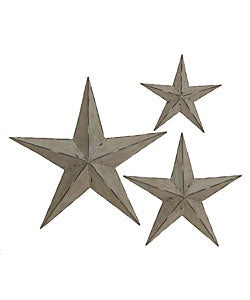 Handcrafted Rustic Metal Wall Decor Stars (Set of 3)