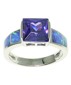 CGC Sterling Silver Large CZ Created Opal Ring