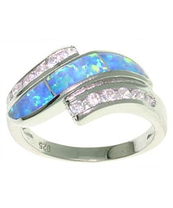 CGC Opal and CZ Designer Inspired Sterling Silver Ring