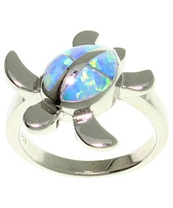 CGC Sterling Silver Created Opal Turtle Ring