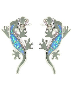 CGC Sterling Silver Created Opal Gecko Earrings