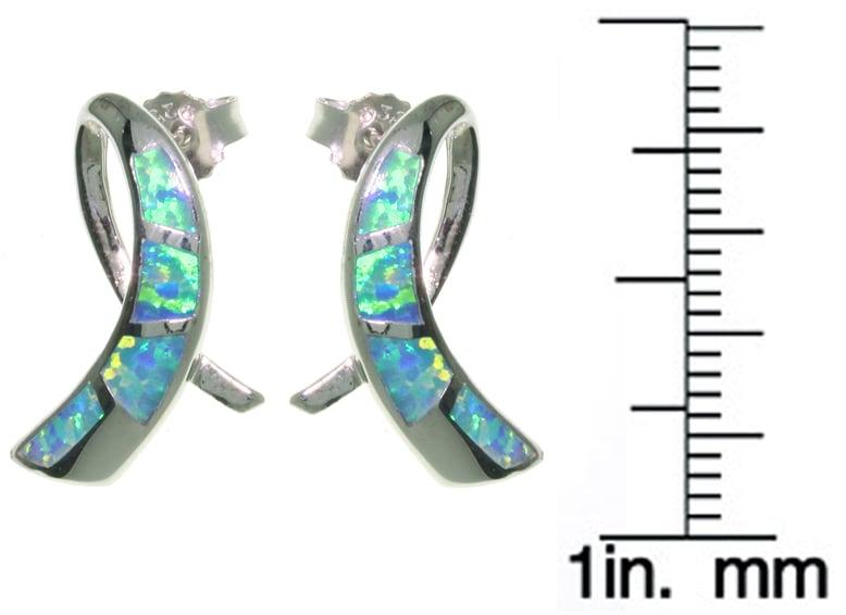CGC Sterling Silver Created Opal Ribbon Earrings