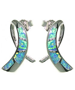 CGC Sterling Silver Created Opal Ribbon Earrings