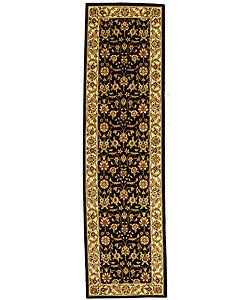 Lyndhurst Collection Traditional Black/ Ivory Polypropylene Runner (2'3 x 14')