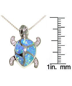 CGC Sterling Silver Opal Cubic Zirconia Turtle Necklace