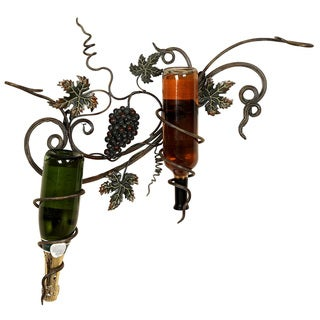 Handcrafted Metal Wall Wine 2-Bottle Holder