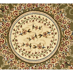 Lyndhurst Collection Aubussons Sage/ Ivory Rug (5' 3 Round)