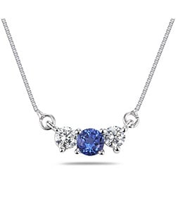 14k Gold Blue Sapphire and 1/4ct Diamond Necklace
