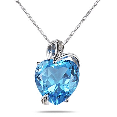 14k Gold Blue Topaz Diamond Accent Heart Necklace