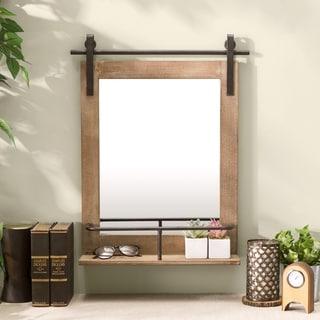 Danya B. Rustic Industrial Wall Barn Door Vanity Mirror with Shelf