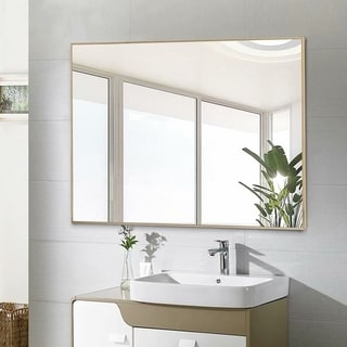 Modern Gold Large Rectangle Bathroom Wall-Mounted Vanity Mirror