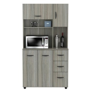 Inval Smoke Oak Kitchen Microwave Cabinet