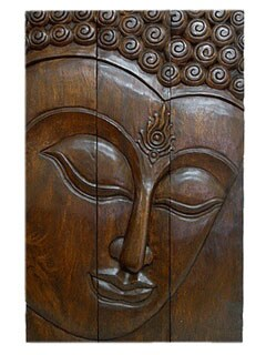 Full Size Acacia Wood Three-Panel Buddha Face (Thailand)