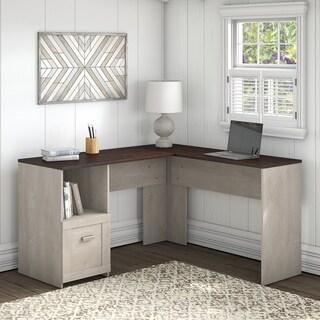 Porch & Den Skyhar Washed Grey/ Cherry 54-inch L-shaped Desk