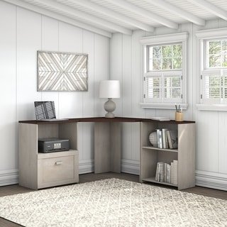 Porch & Den Skyhar Washed Grey/ Cherry Corner Desk with Bookcase and File Cabinet
