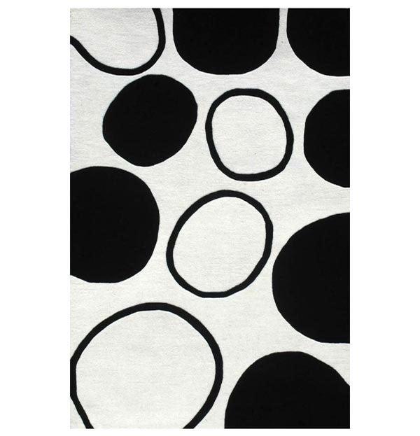 Hand-tufted Black Circle Wool Rug (8' x 10'6)