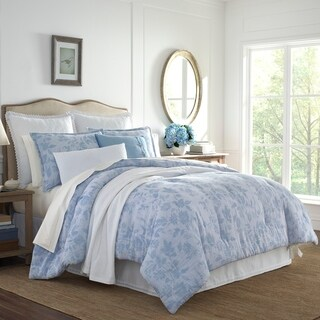 Laura Ashley Liana Blue Cotton Comforter Set