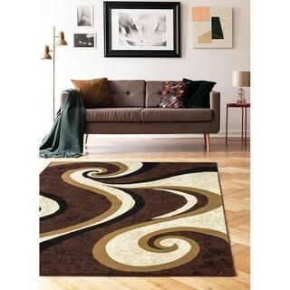 "Princess Collection Geometric Swirl Abstract Area Rug, 5' 2"" x 7' 2"", Cream / Brown"