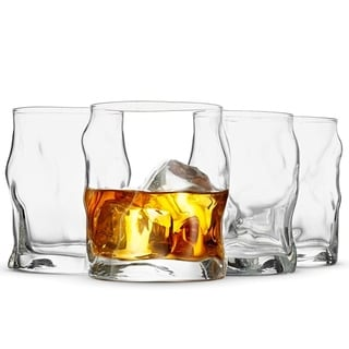 Double Old Fashioned Whisky Glass Set - Rocks Glasses - Set of 4 Exquisite Cocktail Glasses - 14.¼ Oz Drinking Glasses