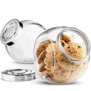 Glass Candy Jar 75.5 Ounce Cookie Jar (2 Pack) with Plastic Airtight Seal Lid, Jar for Snacks, Dry Food, Apothecary Jars