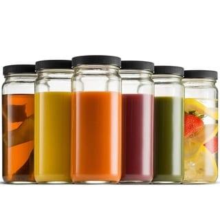 Travel Glass Drinking Bottle Mason Jar 16 Ounce (6-Pack) Plastic Airtight Lids, Reusable Glass Water Bottle