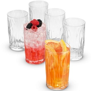Bormioli Rocco WIND Italian Highball Glasses 16.25 Ounce (6 Pack) Heavy Base Bar Glass with a Wavy Design Large Drinking Glasses