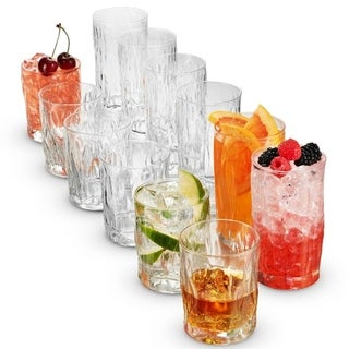 Bormioli Rocco WIND 12 Piece Set Includes 6 Double Old Fashioned Whiskey Glasses and 6 Tall Bar drinking Glasses