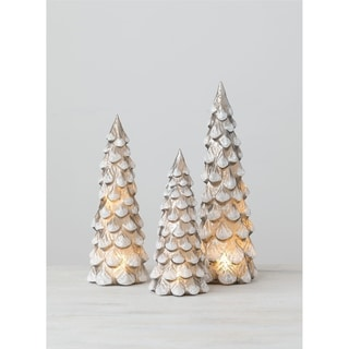 "Snowy Grey LED Trees - Set of 3 - 4,4,3.5""L x 4,4,3.5""L x 12.5,10.5,8.5""H"