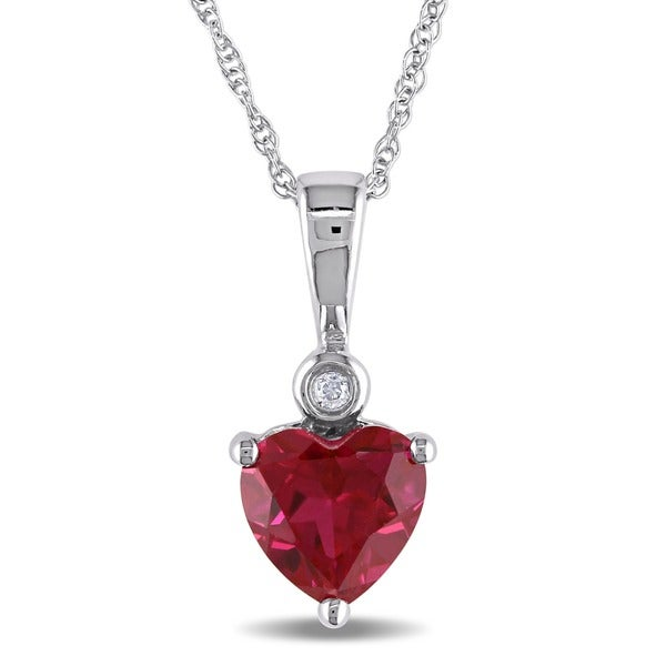 Miadora 10k White Gold Created Ruby Heart Diamond Necklace