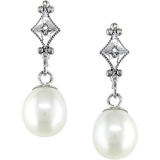 Miadora 10k White Gold Cultured Freshwater Pearl and Diamond Accent Drop Earrings (6.5-7mm)