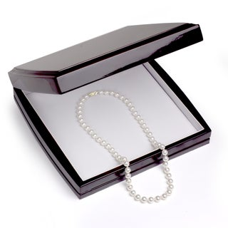 DaVonna 18k Gold White 7-7.5mm Akoya Pearl Necklace (16-36 in) with Gift Box
