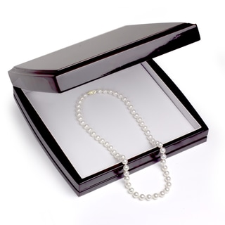 DaVonna 18k Gold White Akoya Pearl Necklace (16-36 in) with Gift Box