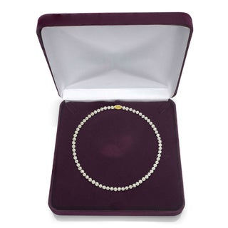 DaVonna 18k Gold White Akoya Pearl Necklace (16