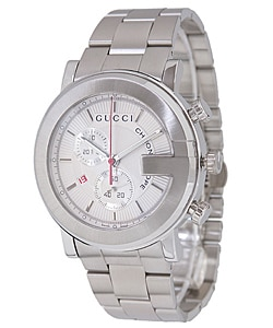 Gucci 101G Men's YA101339 Silver Dial Steel Chronograph Watch