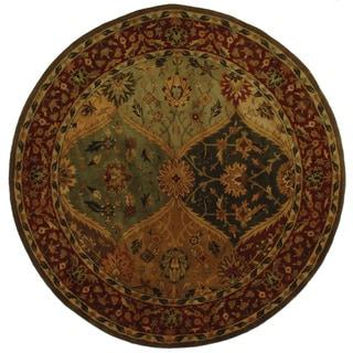 Handmade Heritage Kerman Burgundy Wool Rug (6' Round)