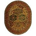 Handmade Heritage Kerman Burgundy Wool Rug (7'6 x 9'6 Oval)