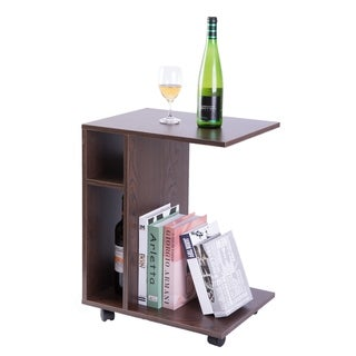 Modern Sofa Side Table with Shelves and Casters, Brown