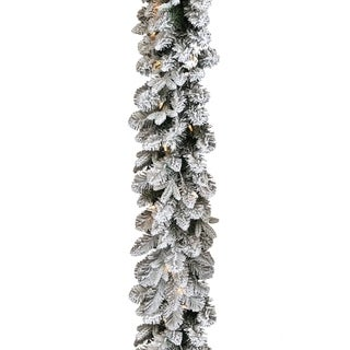 9-foot Snow-dusted Iceland Fir Garland with Battery Operated LED Lights