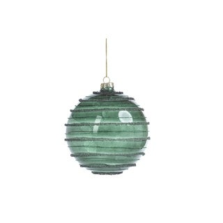 Striped Green Christmas Ball Ornaments, Set of 4