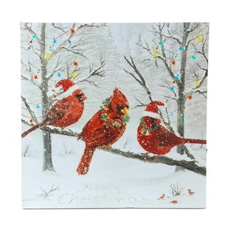 Winter Wonderland Red Cardinals Canvas Print with LED Lights