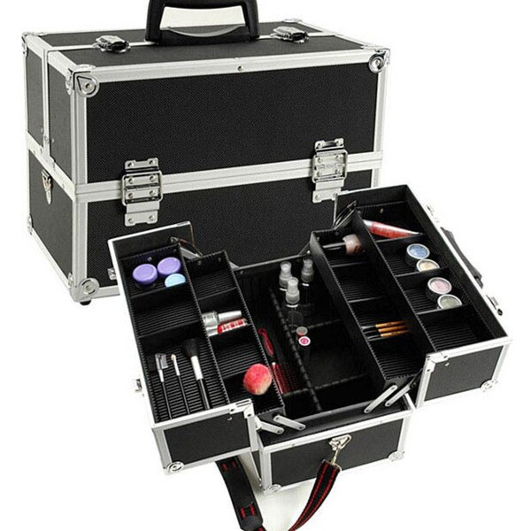 Black Aluminum Makeup Train Case with Dividers
