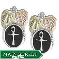 Black Hills Gold and Silver Antiqued Cross Earrings