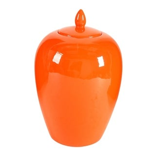Modern 14-inch Orange Lidded Jar