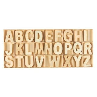 104 Piece Set Wooden Letters with Storage Tray - 4 Piece Each Letter, Natural