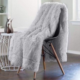 Lochas Super Soft Shaggy Warm Plush Throw Blanket Fluffy Long Faux Fur Decorative Blankets for Couch Bed Chair-Gray