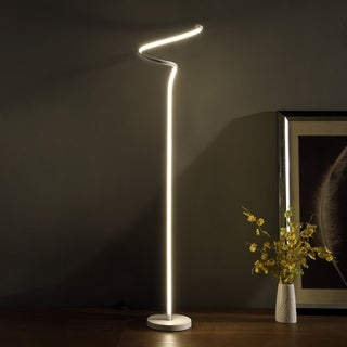 LED Matte White Curvilinear S-Curve Spiral Tube Angled Floor Lamp