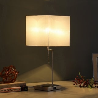 Aston Square Table Lamp W/ Charging Station