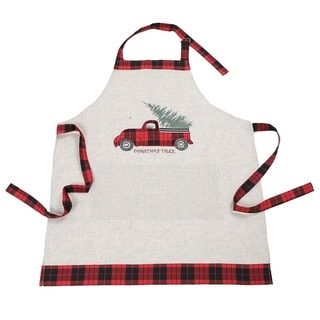 Vintage Tartan Truck with Christmas Tree Apron Adults Size 30 by 26-Inch
