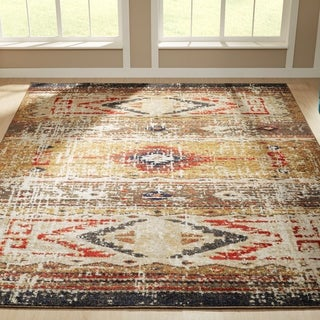Porch & Den Quince Distressed Diamond Band Area Rug